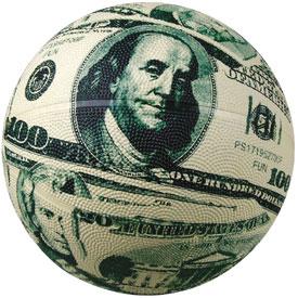 баскетбольный мяч из денег
